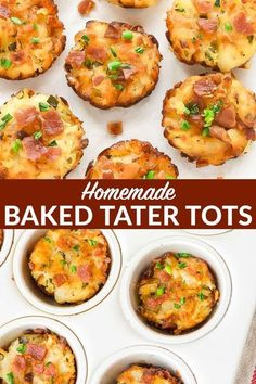 Loaded Homemade Tater Tots! Healthy Baked Tater Tots with cheese and bacon, cooked the easy way in a mini muffin tinno deep fryer required! Serve these cheesy tots for breakfast, a side dish, appetizer, or use them to make the best ever from scratc Tater Tot Recipes, Baby Food Recipes, Cooking Recipes, Cheesy Tots Recipe, Toddler Recipes, Healthy Recipes, Potato Recipes, Vegetable Recipes, Healthy Eats