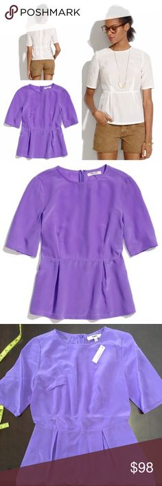 "NWT Madewell Purple Silk Peplum Top, XXS MADEWELL Lavender silk peplum top, xxs. New with Tags. Wear this peplum-style top with jeans, under a blazer or with a cardigan (basically, anything) to add a bit of easy femininity. True to size. Silk. Dry clean. Import. Approximate Measurements: 15"" armpit to armpit, 12.25"" across waist, 21.75"" long. ****label marked through by manufacturer to prevent returns. Madewell Tops Blouses"