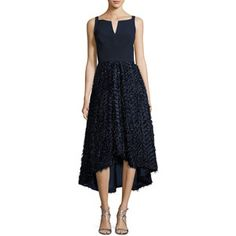 Milly Adalyn Sleeveless Mixed-Media Cocktail Dress