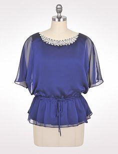 Plus Size Faux Pearl Blouson Top | Dressbarn