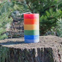 #rainbow #candle Pillar Candles, Rainbow, Rain Bow, Rainbows, Candles
