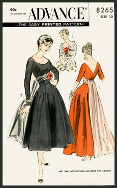patron de couture vintage années 1950 1960 Mad Men soirée robe de cocktail taille d'empire profonde plongent repro de décolleté buste 32 b32