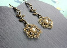 Gold flower  lace earrings with pearl £30.00