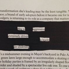 She is aggressive, extremely driven...a leader...an underdog @makeblackouts #oldvogue #PoeticSoul #blackoutpoetry