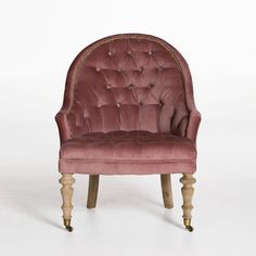 Tufted Barrel Chair - Dusty Rose Velvet - Accent Chairs - Seating - Living | HD Buttercup Online