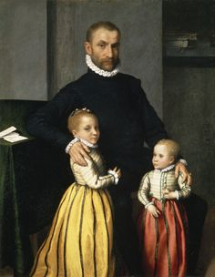 Portrait of a Gentleman with Two Children, Giovanni Battista Moroni, 1570