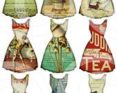 paper dresses, digital collage sheet from LandofEnchantment (etsy) Vintage Tags, Vintage Paper, Printable Vintage, Paper Art, Paper Crafts, Etiquette Vintage, Paper Supplies, Illustration, Collage Sheet
