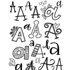 letter a font alphabet Doodle Fonts, Doodle Lettering, Creative Lettering, Lettering Styles, Brush Lettering, Lettering Ideas, Doodle Art, Hand Lettering Practice, Hand Lettering Alphabet