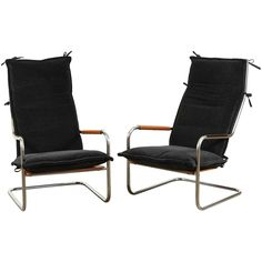 Pair of Alpaca and Chrome Lounge Chairs by Thonet | From a unique collection of antique and modern lounge chairs at https://www.1stdibs.com/furniture/seating/lounge-chairs/