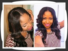 """""""NATURAL Lace Closure & U-Part Wig Application (NO SEW, NO GLUE) very protective style"""" This is cute!"""