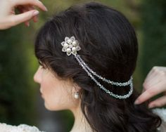 Draped Wedding Crystal and Pearl Headpiece, Alyson | The Wedding Hair Accessory and Bridal Jewellery Experts. Jules Bridal Jewellery