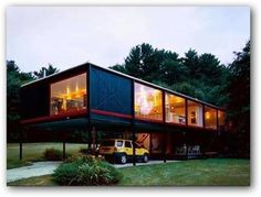 This is an interior renovation of a mid-century modern house located in the Boston suburbs. The materials and construction of this steel and glass floating h. Cabana, Vessel Twenty One Pilots, Steel Framing, Casas Containers, Glass Floats, Modular Homes, Native American History, My House, Mid-century Modern