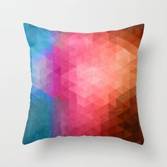Geometric Grunge Throw Pillow Throw Pillow Cover made from 100% spun polyester poplin fabric, a stylish statement that will liven up any room. #geometric, #grunge, #triangular, #vibrant, #color