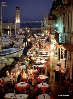 Tavernas at Rethimno Port Crete