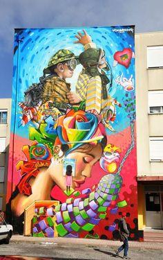 Street Art by Nomen, Vespa PDF & Utopia in Sacavém, Portugal