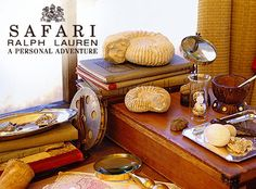 inspiration:  Ralph Lauren Safari advertising- adventure, personal touches, wood, glass, silver, travel moments