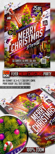 Flyer Merry Christmas Party Template PSD #design Download: http://graphicriver.net/item/flyer-merry-christmas-party/13418140?ref=ksioks