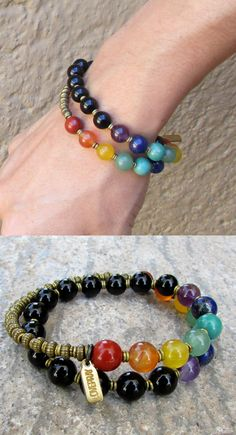 Genuine onyx for soothing, and chakra gemstones to attune and stimulate your chakras!