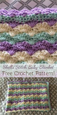 Shells Stitch Baby Blanket - Free Crochet Pattern!
