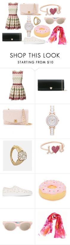 """mini dress"" by jamuna-kaalla ❤ liked on Polyvore featuring Alice + Olivia, Versace, Chanel, DKNY, Avenue, Sydney Evan, Simone Rocha, Sunnylife and RetroSuperFuture"