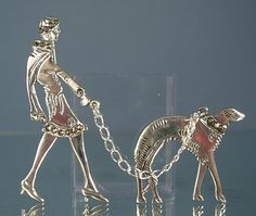 Sterling Silver Marcasite Art Deco Lady & Borzoi Dog Brooch. Deco Brooches.