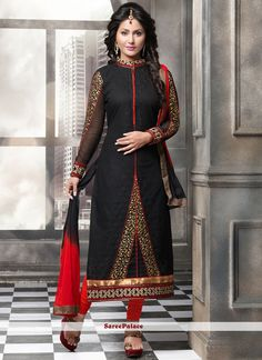 Staggering Cotton   Black Lace Work Churidar Suit