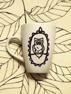 Loopy Wise Owl Hand Painted Mug / Cup by BeFlourished on Etsy, $10.00