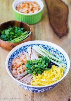 """""""Bun thang"""" is a very delicious, sophisticated, comforting and colorful Vietnamese rice noodle soup with shredded chicken, eggs and pork toppings."""