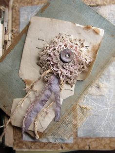 vanity and pride - vintage doily brooch - salvaged crochet lace - antique button