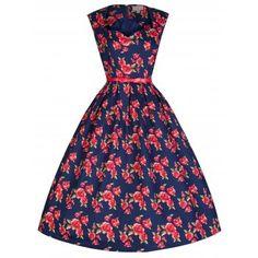 Scarlet Blue Red Floral Dress | Vintage Inspired Fashion - Lindy Bop