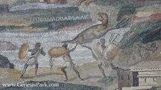 Nile Mosaic of Palestrina, it depicts Nile scenes from Egypt all the way to Ethiopia. Scholars now believe this is the work of Demetrius the Topographer, an artist from Alexandria who came to work in Rome. The top portion of this remarkable piece of art is generally believed to depict African animals being hunted by black-skinned warriors.