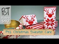 Christmas Sweater Cane | Polymer Clay Tutorial Vol-079 http://www.beadsandbeading.com/blog/christmas-sweater-cane-polymer-clay-tutorial-vol-079/19237/