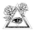 Blackwork tattoo flash. All seeing eye pyramid symbol with peony flower. Sacred geometry. Vector illustration isolated on white. Tattoo design, mystic symbol. New World Order. Eye of Providence.