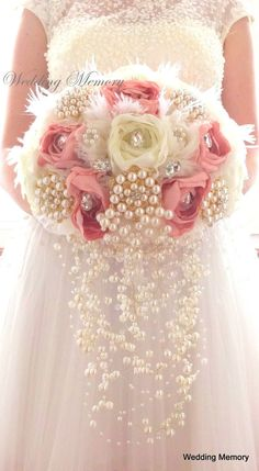 Blush cascading brooch bouquet wedding bridal boquet