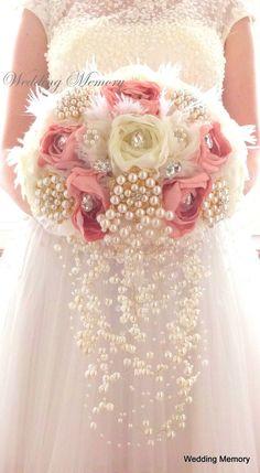 Ready 10 cascade Blush pink ivory brooch bouquet by MemoryWedding