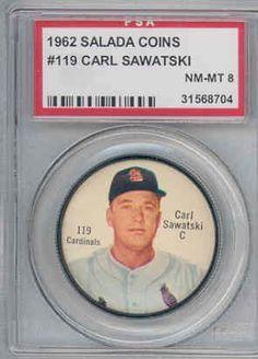 1962 Salada Baseball Coins 119 Carl Sawatski Cardinals PSA 8 Near-Mint to Mint by Salada Tea. $15.00. This vintage card featuring Carl Sawatski is # 119 from the 1962 Salada Baseball Coins set