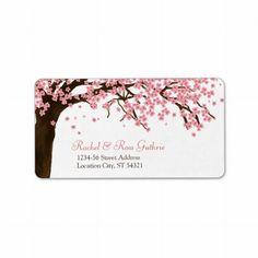 Dirección de la flor de cerezo/del boda de la acua etiqueta de dirección
