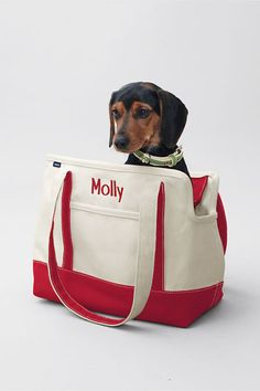 Canvas Tote Pet Carrier with Monogram