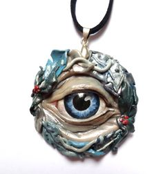 Eyes of the Seasons Collection [Winter]. Beautiful Unique Frosty Clay Pendant, Hand Crafted with a Painted Glass Eye.