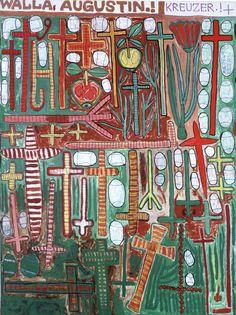 August Walla, 1993, Kreuzer, Edding, Acryl auf Leinwand, 160 x 120 cm © Art Brut KG