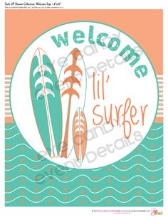 Surfs Up baby shower theme  {Eye Candy Event Details}    #surfer, #babyshower, #genderneutral, #surf party