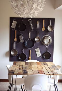 Peg board kitchen decor that features your most used pots and pans.