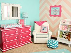 Pink And Turquoise Baby Room Chevron Walls Aqua Teal C