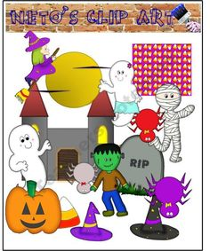 Halloween clip art set product from Netos-Clip-Art on TeachersNotebook.com