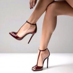 5c5e0b51cd89 Burgundy Peep Toe Heels Pumps T Strap Stiletto Heel Sandals