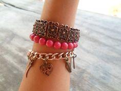 Conjunto de pulseiras rosê