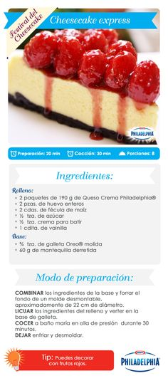 Cheesecake e xpress. Cheesecake Recipes, Dessert Recipes, Delicious Desserts, Yummy Food, Un Cake, Mini Cheesecakes, Sweet Cakes, Cakes And More, Love Food
