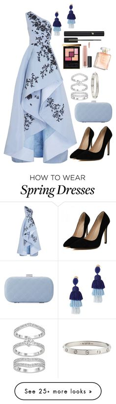 """Blue dress"" by katrin-ovo on Polyvore featuring Monique Lhuillier, La Sera, Oscar de la Renta, Cartier, MAC Cosmetics, Yves Saint Laurent and Lancôme"