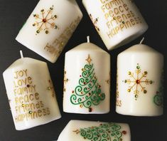 Celebrate the holidays with these handmade festive Christmas Henna Candles! :) Make your family and friends feel extra special by presenting them with these thoughtful and unique Christmas party favors and/or Christmas gifts. These candles are decorated with gold, green and red