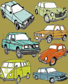 Retro cars fabric